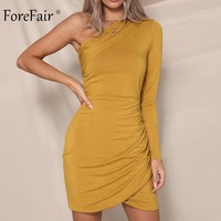 Forefair Long Sleeve Sexy Dress Women Autumn Winter Female Overlapping Ruched One Shoulder Short Club Party Dress