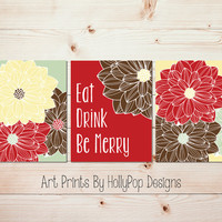 Eat Drink Be Merry Christmas Dining room wall art Floral wall decor Kitchen art Flower art prints Red green kitchen holiday decor  #1435