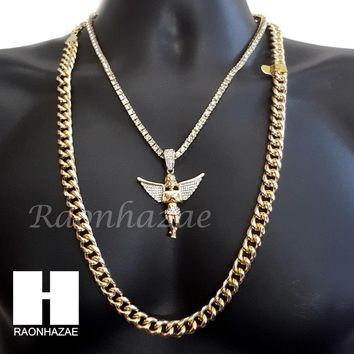 "ICED OUT 21 SAVAGE ANGEL CHARM 16""-30"" TENNIS CHAIN 30"" CUBAN CHAIN NECKLACE G18"