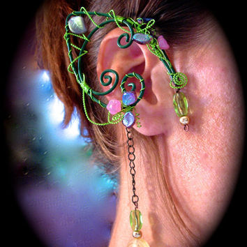Pair of Garden Elf Ear Cuffs with Glass Flowers and Leaves, non pierced earring, Fairy, Renaissance, Elven