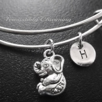 Sale........Baby elephant Stainless Steel Expandable Bangle, monogram personalized item No.729