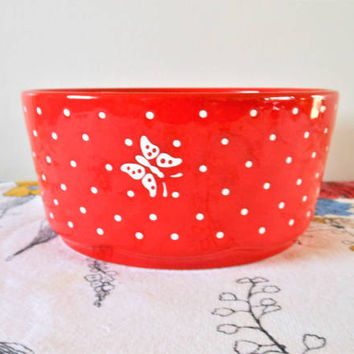 Red Waechtersbach Germany Serving Bowl, Red Bowl With White Polka Dots and Butterflies, Vintage Waechtersbach Bowl,  Vintage Vegetable Bowl
