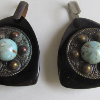 Antique Victorian Cloak Clasp Victorian Turquoise On Black Bakelite Buckle  Bakelite Mourning Jewelry Fur Clip Victorian Cape Clasp Hooks