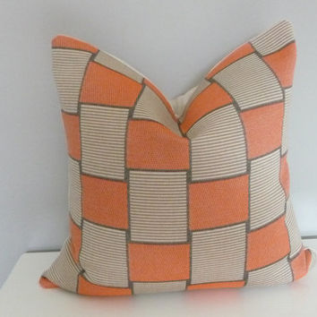 Geometric Modern Squares & Rectangles 20X20 Decorative PillowCover Orange/Beige/Charcoal/Natural/Handmade