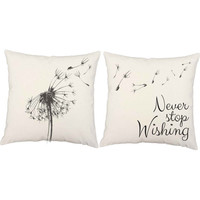 Set of 2 Never Stop Wishing Throw Pillows - Dandelion Print Pillow with or without Cushion Inserts -  Wish Flower, Dandelion Pillow, Flower