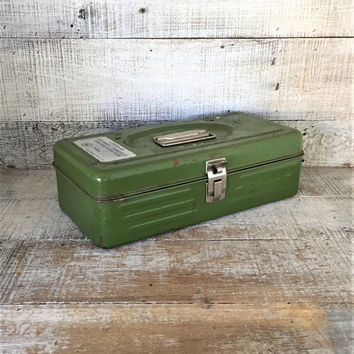 Metal Box Vintage Industrial Box Green Metal Tool Box Utility Box Vintage Metal Toolbox Green Metal Box Industrial Storage Rusty Metal Box