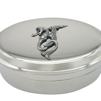 Silver Toned Textured Serpent Pendant Oval Trinket Jewelry Box