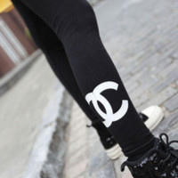 Double C high elastic cotton can not afford the ball was thin leggings
