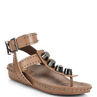 Treble Studded Leather T-Strap Sandals