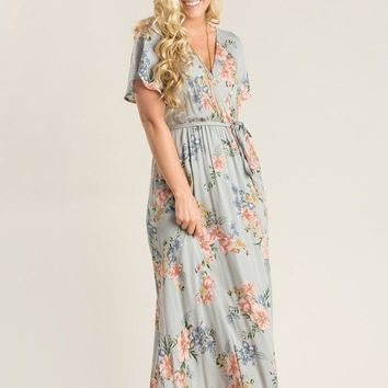 Bethany Grey Floral Maxi Dress