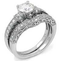 Sterling Silver Cubic Zirconia CZ Wedding Engagement Ring Set