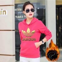 Women Long-sleeved Adidas Sweater Thickened Hoodies With Hat