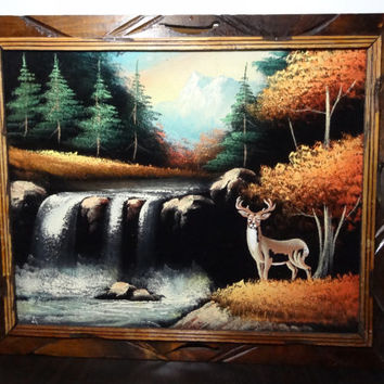 Vintage Framed Nature Woodland Painting on Black Velvet with Waterfalls and Deer - Mexico