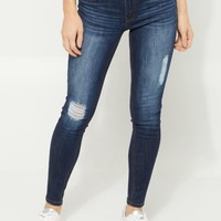 Dark Ripped Mid Rise Jeggings In Regular
