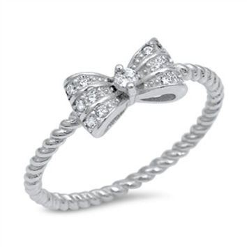 925 Sterling Silver CZ Simulated Diamond 6MM Twisted Ribbon Bow Tie Ring