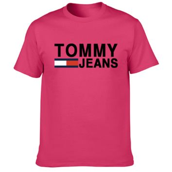 Tommy Fashion New Bust Letter Stripe Print Women Men Top T-shirt Rose Red
