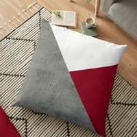 'Concrete Burgundy Red White' Floor Pillow by by-jwp