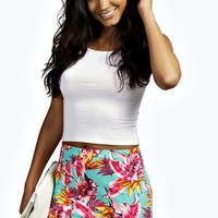 Halle Hawaiin Print Crepe Mini Skirt