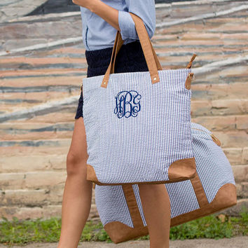 NEW! Monogrammed Blue Seersucker Canvas Tote Flight Bag with Faux Leather Handles  font shown INTERLOCKING in Navy