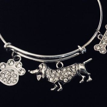Dachshund Jewelry Dog Bling Crystal Paw Print Bone Adjustable Bracelet Expandable Charm Bracelet Silver Bangle Animal Lover Gift Paw