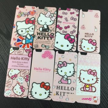Bling For iphone 5s front and back film Tempered Glass Screen Protector hello kitty KT cat pink bows stickers for iphone 5 5s se