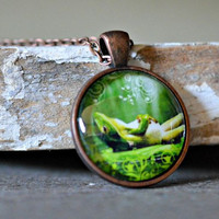 Frog Pendant Necklace : Lazy Frog
