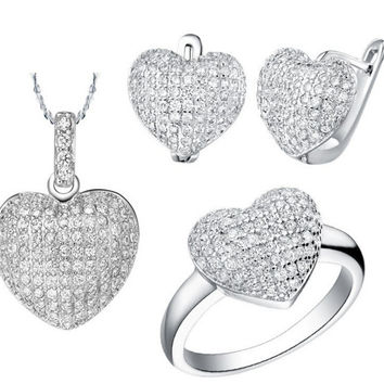 African Jewelry Set Costume Platinum Plated Heart Love Shape Zircon Jewellry Necklace Earrings Ring Set