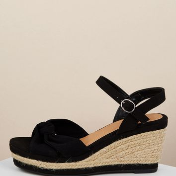 Knot Front Jute Trim Platform Wedge Sandals