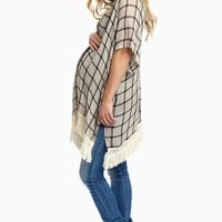 Taupe-Printed-Fringe-Trim-Knit-Maternity-Cardigan
