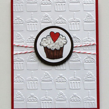 Birthday Cupcake Card, Brown and red, embossed cupcakes, All Occasion, birthday, custom, hand colored, handmade