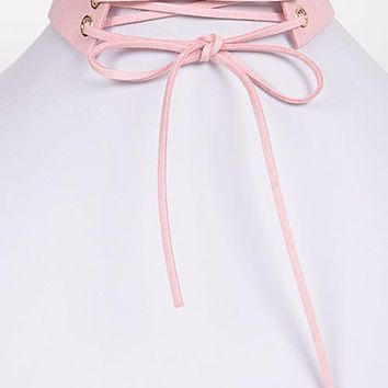 Lace Up Choker: Pink