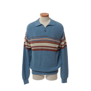 Vintage Mens 70s 80s Campus Terry Knit Shirt 1970s 1980s Textured Terry Cloth Striped Surfer Hipster Sweater Retro Polo Pullover / XL