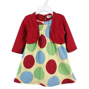 New Rainbow Dot 100% Cotton False Two Pcs Party Girls Dress, Spring And Autumn Baby Kids Clothing