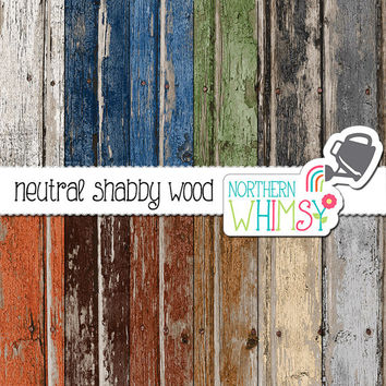 Wood Digital Paper – neutral peeling paint rustic wood digital paper - shabby scrapbook paper - barn board - printable paper -commercial use