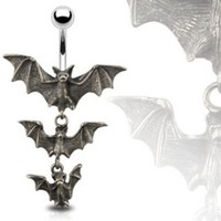 "Gothic Tri-Vampire Bats Dangle Navel Belly Button Ring - 14GA 3/8"" Long (Sold Ind.)"