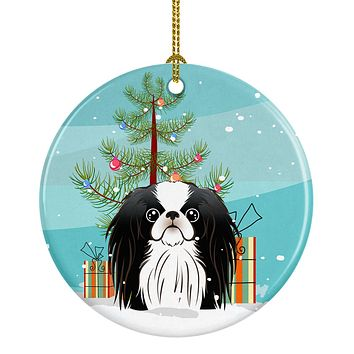 Christmas Tree and Japanese Chin Ceramic Ornament BB1602CO1