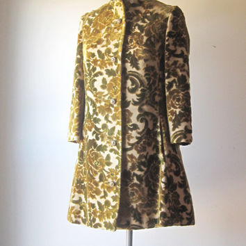 Vintage Lili Ann Tapestry Coat 1960s Small