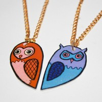 owl buddies best friend necklace set by wishbowl on Etsy