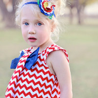 Big Bow Dress, Red Chevron White, Toddler, Girl Clothing, Spring, Summer, 4th of July, Special Occasion Outfit, Birthday Party, Size 1T - 5