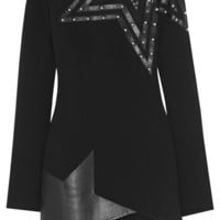 Anthony Vaccarello - Asymmetric leather and tulle-paneled stretch-crepe mini dress