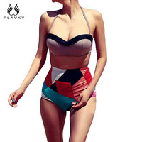 Retro Style  Multi Color High Waisted Bathing Suit