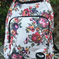 ROXY Shabby Rose Flower Backpack Travel Book Bag NEW