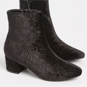 Black Embossed Velvet Bootie By Yoki