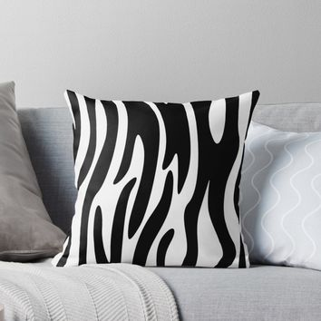 'Animal Print Pattern – Zebra 3' Throw Pillow by poisondesign