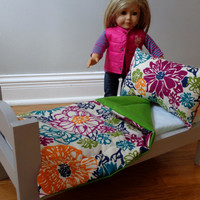 Bright Floral & Green American Girl and 18-inch Doll Bedding Set