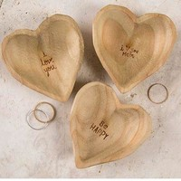 Wooden Heart Dishes by Natural Life