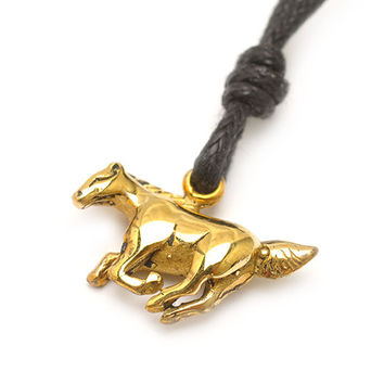 Year of the Horse Handmade Brass Necklace Pendant Jewelry