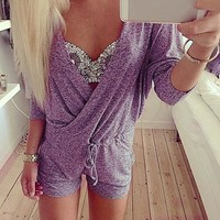 Deep V-Neck Batwing Sleeve Knit Club Short Jumpsuit