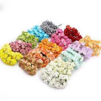 36pcs lot Scrapbooking artificial Mulberry Paper Rose Bouquet wire stem wedding flower D027021008