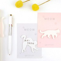 4Pcs/lot Cute Meow Cat Shape Self-Adhesive Memo Pad Sticky Notes Post It Bookmark School Office Supply